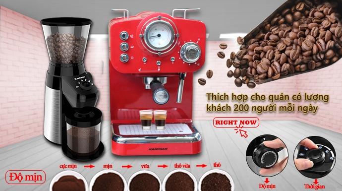 combo máy pha cà phê espresso và máy xay cà phê chuyên nghiệp kahchan